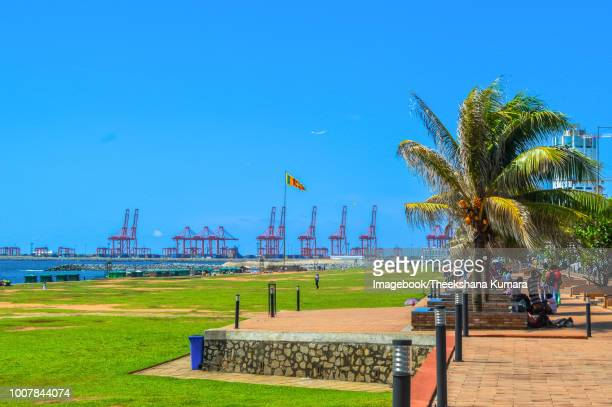a view of the galle face beach and port of colombo - imagebook stock pictures, royalty-free photos & images