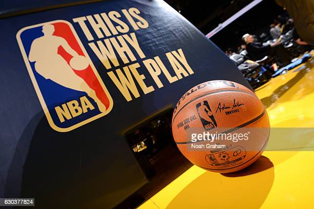 View of the game ball and This is Why We Play logo before the game between the Golden State Warriors and the Houston Rockets on December 1, 2016 at...
