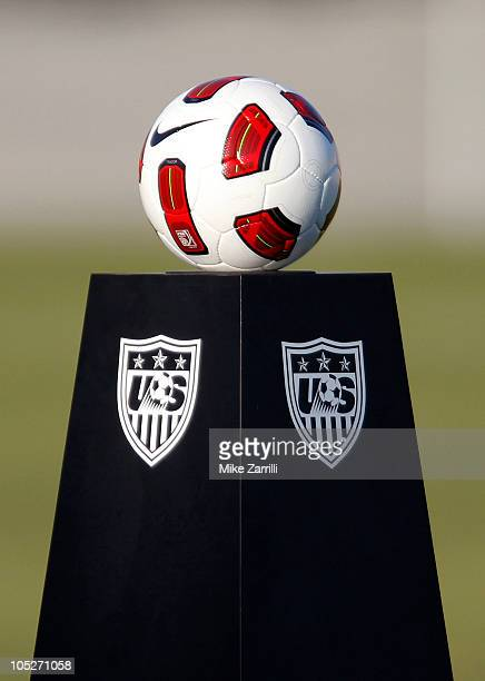 View of the game ball on a pedestal before the game between the US Women's National Soccer Team and the People's Republic of China Women's National...