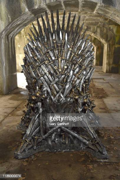 "View of the ""Game Of Thrones"" iron throne replica in Queens ahead of the final season at Fort Totten Park on March 30, 2019 in New York City."
