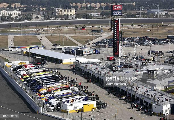 A view of the garage area during Daytona Preseason Thunder at Daytona International Speedway on January 14 2012 in Daytona Beach Florida