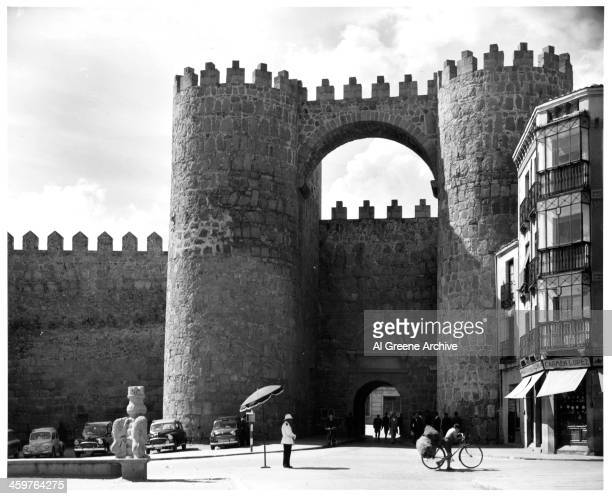 A view of the Gate Alcazar in Avila Spain Circa 1940