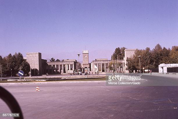 View of the gates to the Afghani presidential palace known as The Arg located in the Wazir Akbar Khan neighborhood of Kabul Afghanistan November 1973