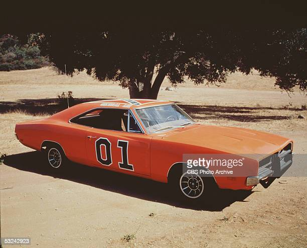View of the 'General Lee' the famous orange Dodge Charger emblazoned with the Confederate flag from the television series 'The Dukes of Hazzard'...
