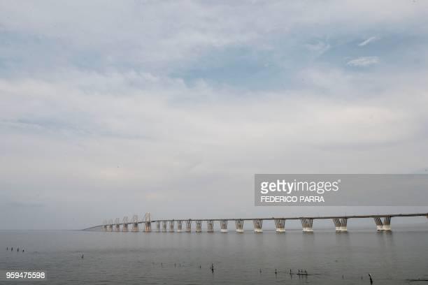 View of the General Rafael Urdaneta bridge over Maracaibo lake in Maracaibo Venezuela on May 3 2018 Amid blackouts skyrocketing prices shortage of...