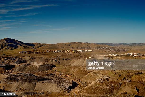 A view of the generally scarred landscape of the Mongolian mines in the Sharyngol district Mongolia today is known for its large deposits of copper...