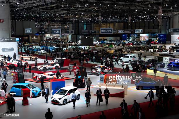View of the Geneva Car Show halls at the 88th Geneva International Motor Show on March 7 2018 in Geneva Switzerland Global automakers are converging...