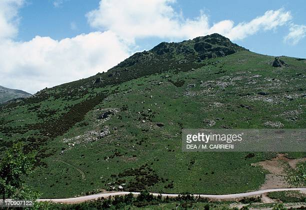 View of the Gennargentu Massif National Park of the Bay of Orosei and Gennargentu Sardinia Italy