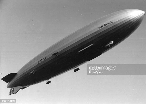 View of the German airship LZ 130 Graf Zeppelin II in flight late 1930s The Hindenbergclass hydrogenfilled rigid airship operated between 1938 and...