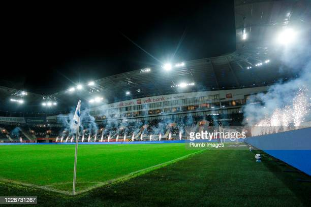View of the Ghelamco Arena ahead of the Jupiler Pro League match between KAA Gent and OH Leuven at the Ghelamco Arena on September 26, 2020 in Gent,...