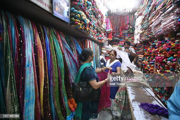 A view of the Ghoonghat dupatta store at Lajpat nagar's Central Market in New Delhi on June 15 2010