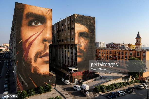 A view of the giant murals depicting the revolutionary Che Guevara by the artist Jorit Agoch on two buildings in San Giovanni a Teduccio a district...