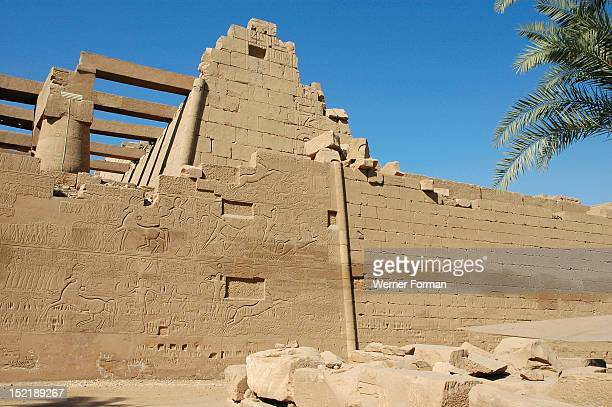 View of the giant relief decoration on the outside northern wall of the Great Hypostyle Court It shows pharaoh Seti I's victory at Kadesh in the...
