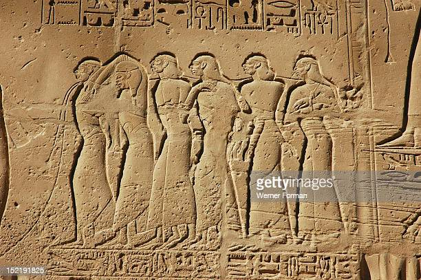 View of the giant relief decoration on the outside northern wall of the Great Hypostyle Court It shows pharaoh Seti Is war captives roped together by...