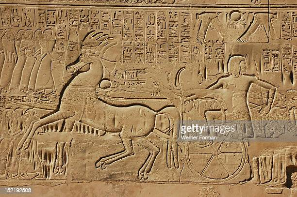 View of the giant relief decoration on the outside northern wall of the Great Hypostyle Court It shows pharaoh Seti I in battle in southern Palestine...