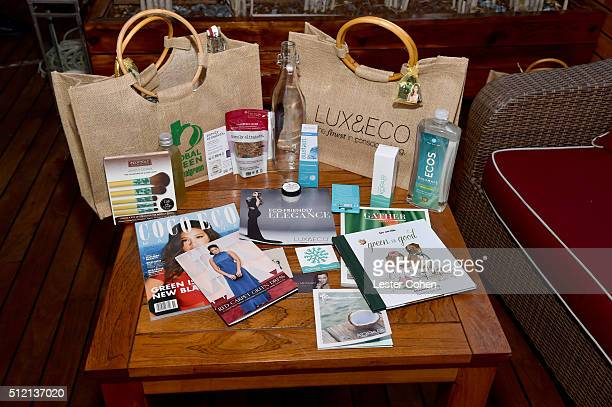 A view of the gift bag at Global Green USA's 13th annual preOscar party at Mr C Beverly Hills on February 24 2016 in Los Angeles California