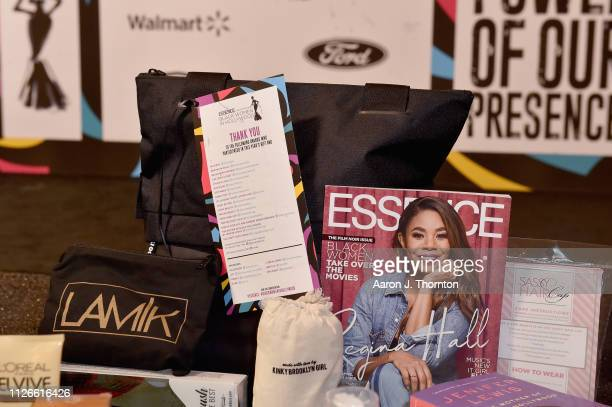 A view of the gift bag at the 2019 Essence Black Women in Hollywood Awards Luncheon at Regent Beverly Wilshire Hotel on February 21 2019 in Los...