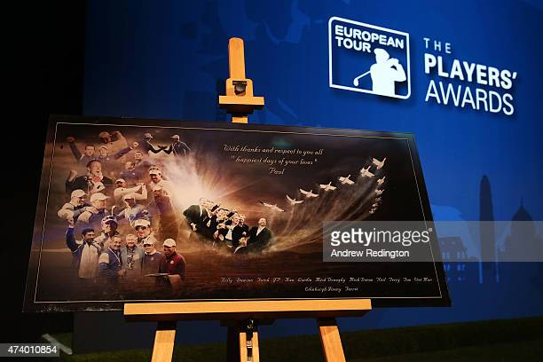 A view of the gift given to the players by Paul McGinley of Ireland during the European Tour Players' Awards ahead of the BMW PGA Championship at the...