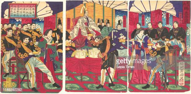 View of the Gift of the Emperor's Gift Cup Meiji period Sept 5 Japan One sheet of a triptych of polychrome woodblock prints ink and color on paper...