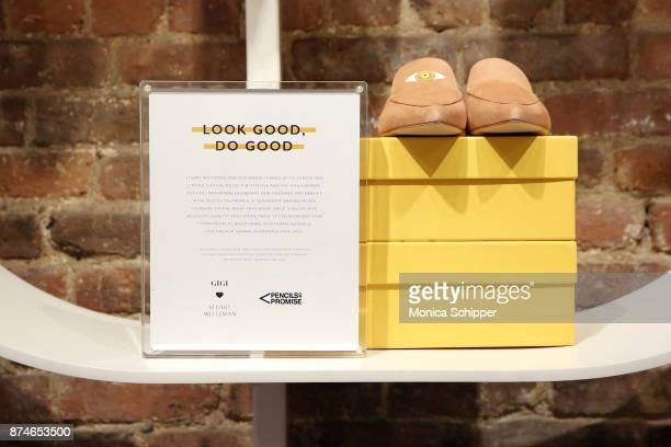 View of the Gigi Hadid and Stuart Weitzman collaboration, EyeLove and EyeLoveMore mules, at the Stuart Weitzman Pop-Up Event on November 15, 2017 in...