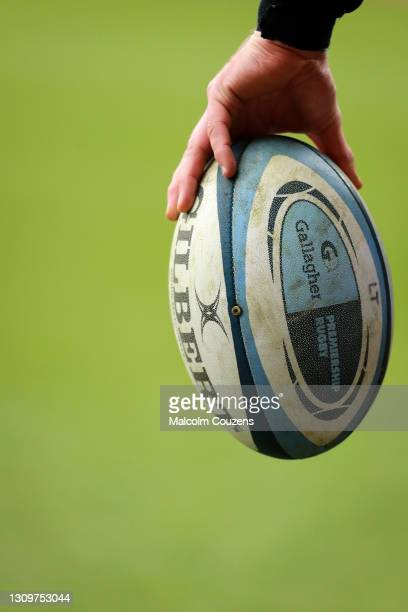 View of the Gilbert Premiership Rugby match ball during the Gallagher Premiership Rugby match between Leicester Tigers and Newcastle Falcons at...