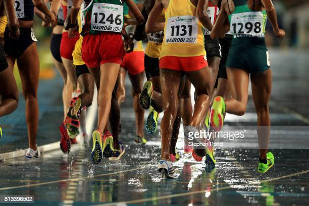 A view of the Girl's 3000m underway in torrential rain during day one of the IAAF U18 World Championships on July 12 2017 in Nairobi Kenya