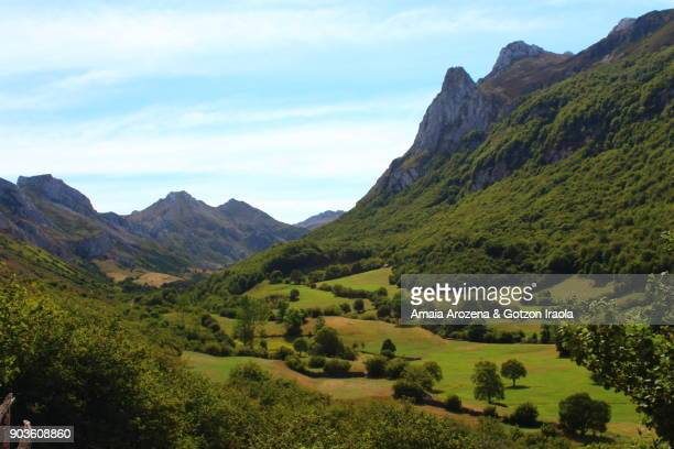 view of the glacial valley on the route to lago del valle. somiedo natural park, asturias, spain. - asturien stock-fotos und bilder