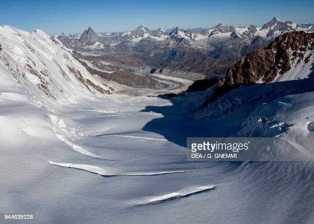 View of the glacier from the Monte Rosa massif, Italy and Switzerland.