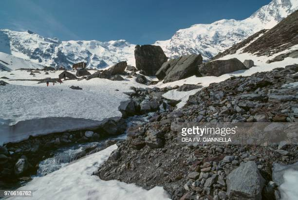 View of the glaciers of the Monte Rosa from the Zamboni-Zappa Hut, upper Anzasca Valley, Piedmont, Italy.