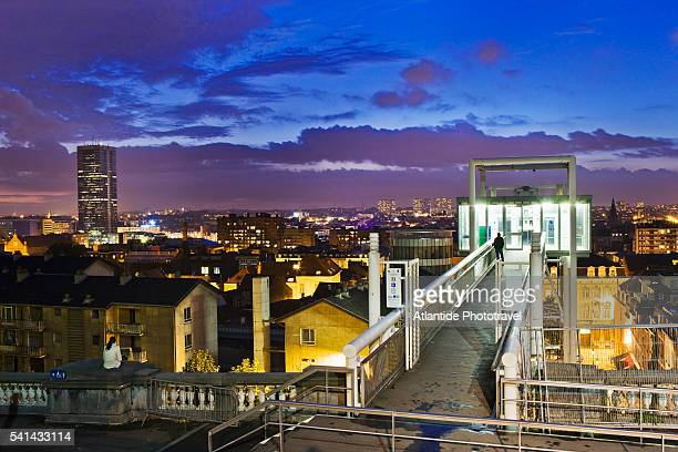 View of the glass elevator and the city from the panoramic terrace, Brussels, Belgium