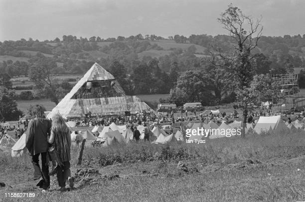 View of the Glastonbury Fair music festival, which saw the first use of a pyramid stage, 22nd - 26th June 1971. Later renamed the Glastonbury...