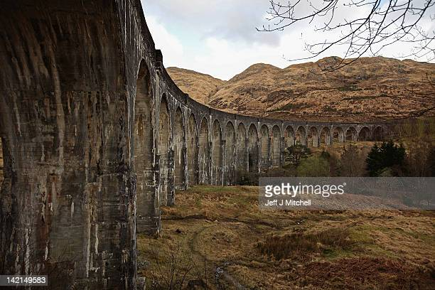 A view of the Glenfinnan Viaduct on March 30 2012 in Glenfinnan Scotland Built by Sir Robert McAlpine between 1897 and 1901 the single track viaduct...