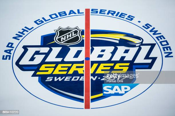 View of the Global Series logo during the rink build out ahead of the SAP NHL Global Series between Ottawa Senators and Colorado Avalanche at...
