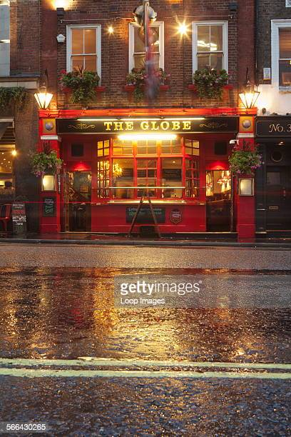 A view of The Globe pub near Covent Garden on a wet day