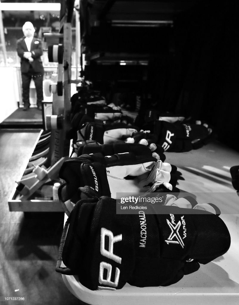 a view of the gloves of the philadelphia flyers prior to an nhl game