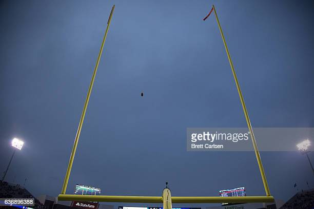 View of the goalposts as a field goal attempt by Dan Carpenter of the Buffalo Bills misses wide right during overtime against the Miami Dolphins on...