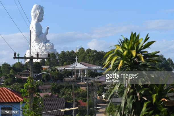 A view of the goddess of Mercy geant statue Wat Huay Pla Kung at the top of the hill in Amphoe Mueang near Chiang Rai On Friday June 15 in Chiang Rai...