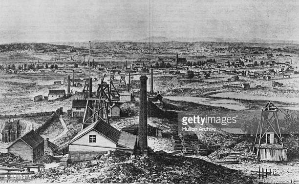 A view of the gold mining town of Sandhurst during the Australian gold rush Victoria Australia circa 1855 Engraving by Armand Kohl