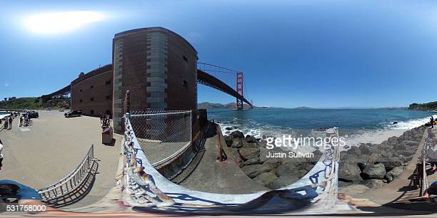 A 360 view of the Golden Gate Bridge at Fort Point on May 16 2016 in San Francisco California