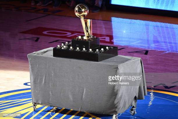 A view of the Golden State Warriors 20172018 Championship rings and the Larry O'Brien NBA Championship Trophy prior to their game against the...
