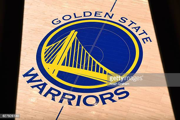 View of the Golden State Warriors logo before the game against the Indiana Pacers on December 5 2016 at ORACLE Arena in Oakland California NOTE TO...