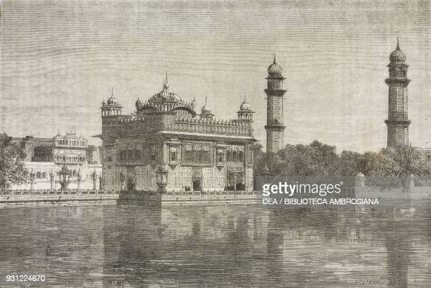 View of the Golden Temple of Amritsar Pakistan drawing by Emile Therond from a photograph from Le Pandjab et le Cachemir by Guillaume Lejean from Il...