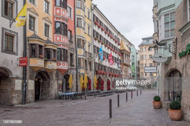 View of the Goldenes Dachl in the old town of Innsbruck with flags of the event during the Team Trial Training of UCI 2018 Road World Championships...