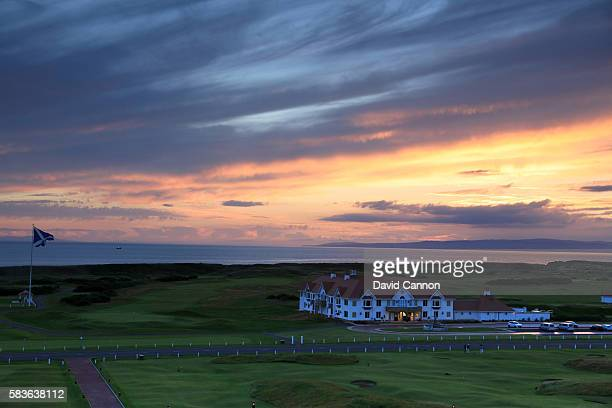 A view of the golf clubhouse from the hotel at the Trump Turnberry Resort on July 18 2016 in Turnberry Scotland