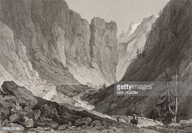 View of the Gondo Gorges from the Simplon Pass road Divedro or Simplon Valley Switzerland engraving by Samuel Rawle after a drawing by William...