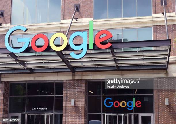 View of the Google company logo on the awning of a building in the West Loop neighborhood Chicago Illinois April 2018