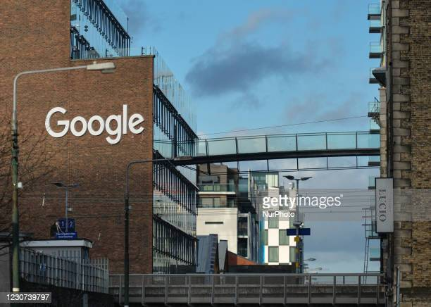 View of the Google logo at Google building GRCQ1 in Dublin's Grand Canal area, seen during Level 5 Covid-19 lockdown. On Friday, 22 January in...