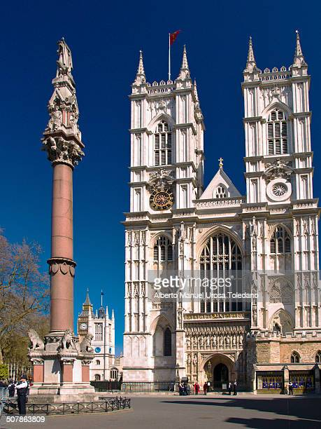 View of the gothic style Collegiate Church of St Peter at Westminster, commonly known as Westminter Abbey.