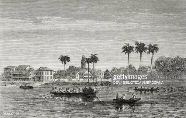 View of the Government House Square from the Suriname river boats in the foreground Paramaribo Suriname illustration from the magazine The...