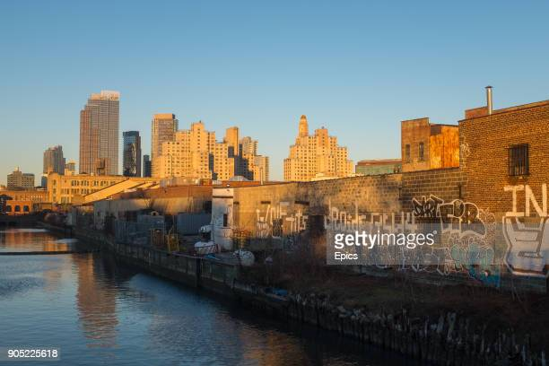 A view of the Gowanus canal and the buildings of the downtown Brooklyn skyline the Gowanus and Red Hook areas of Brooklyn are undergoing significant...